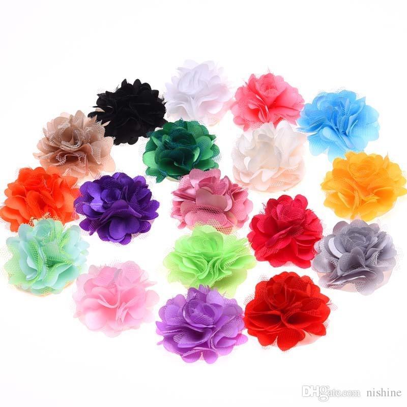 Nishine Satin Mesh Flowers Handmade Artificial Flowers for Headbands DIY Flower Hair Accessories No Hair Clip Hair Bows