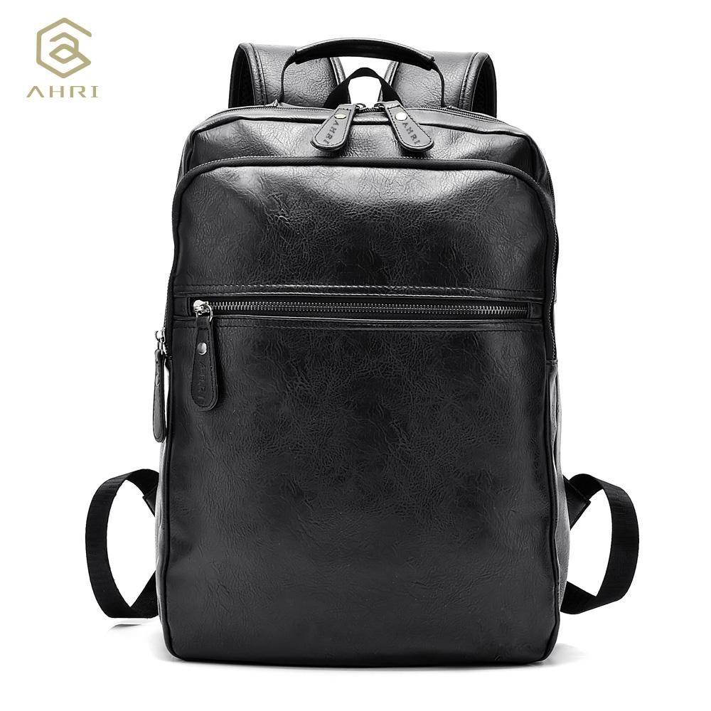 69bbcb632054 Wholesale AHRI Men Business Casual Backpacks For School Travel Bag Black PU  Leather Men S Fashion Shoulder Bags Vintage Boys Men Backpack Leather  Backpack ...