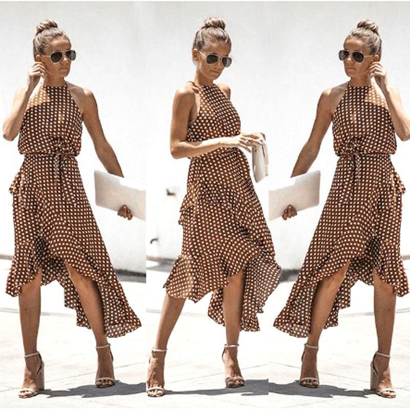 Plus Size S 3XL Boho Style Halter Dress Women Beach Ruffles Summer ...