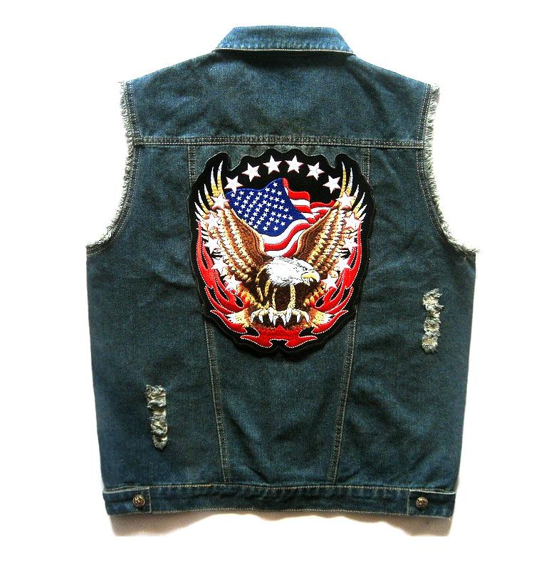 Mens Blue Denim Motorcycle Biker Vest Eagle US American Flag Patch Design Punk Strappato Gilet