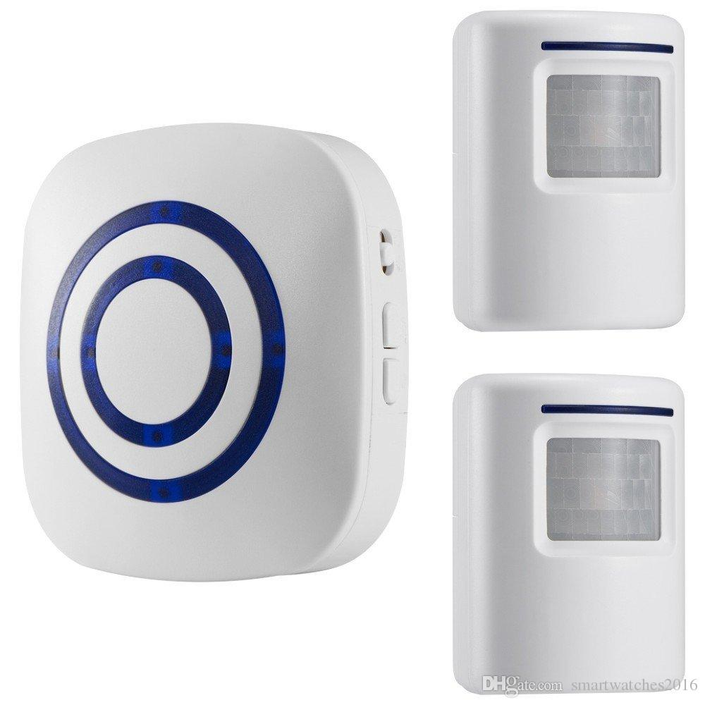 Motion Sensor Doorbell, Wireless Driveway Alert, Home Security System Alarm  with 2 Sensor and 1 Receiver -38 Chime Tunes - LED Indicators