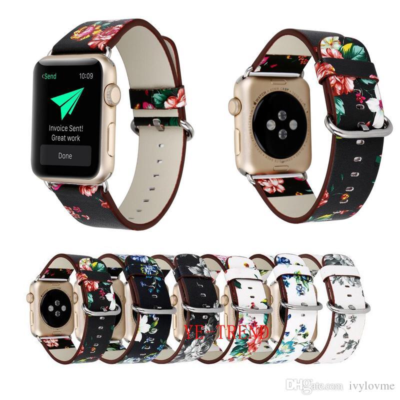 2f249514552 Compre Banda De Relógio De Couro Para A Apple Watch 38mm 42mm Para Série 1  Série 1 Série Iwatch 3 Flor Cinta Floral Prints Relógio De Pulso Pulseira  De ...