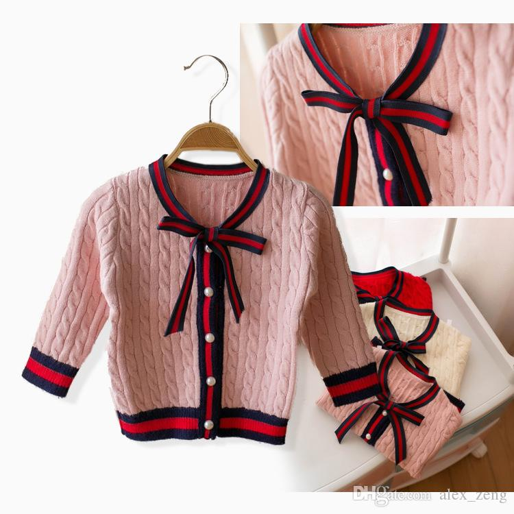 f9d953378 Girls Sweater Cardigan Designer Kids Stripe Lace Up Bows Tie ...
