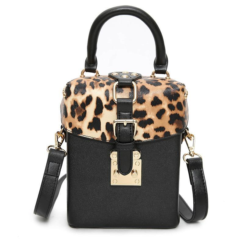 18e7a3806a4 Fashion Designer Women Handbags PU Leather Brand Leopard Print Inserts  Small Square Box Bags Flap New Rivet Handbag Bag Ladies Shoulder Bags Womens  Purses ...