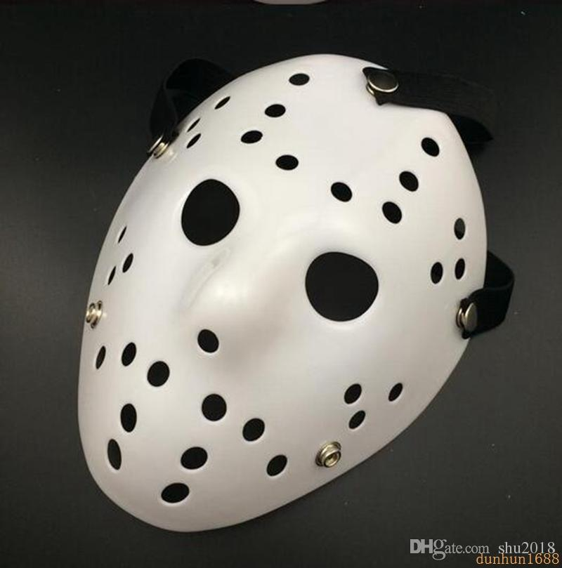 free shipping Halloween WHite Porous Men Mask Jason Voorhees Freddy Horror Movie Hockey Scary Masks For Party Women Masquerade Costumes