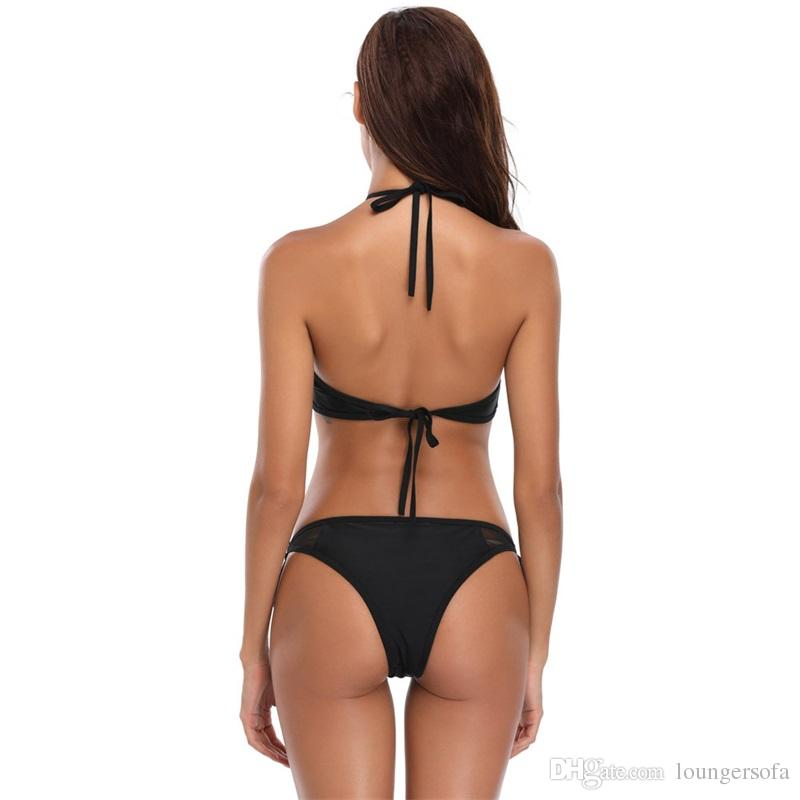 Sexy Black Mesh Bikini Two Piece Set Women Summer Halter Swimsuit Brazilian Beachwear Frenulum Swim Wear For Lady 27hb W