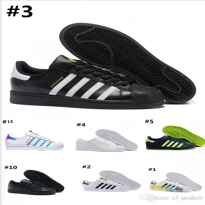 newest 37551 e31bf Superstar Original White Hologram Iridescent Junior Gold Superstars  Sneakers Originals Super Star Women Men Sport Running Shoes 36 45 Sports  Shoes For Women ...