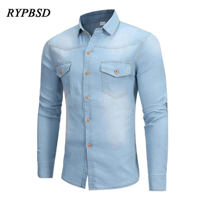 7221cf81b7 New Arrival British Washed Denim Shirt Men Long Sleeve Casual Slim Fit  Camisa Masculina Dress Classic Light Blue Jean Shirt Men