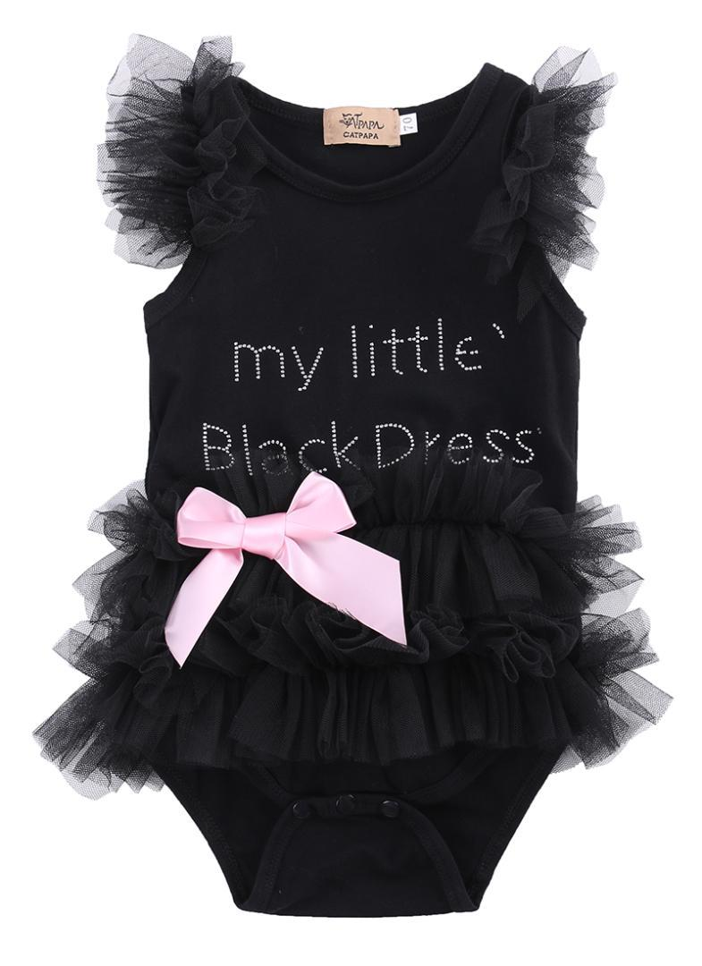 124109cb65bab 2016 New Baby Girls Clothes Infant Girls Lace Bodysuit 3-18M Kids Clothes  Summer Sleeveless Bow Princess Babies Bodysuits Black