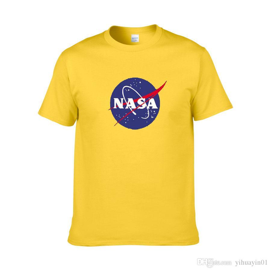 algodão gola redonda meia manga casaco esporte camisola astronauta americano da NASA Galaxy terra impressão camisa T
