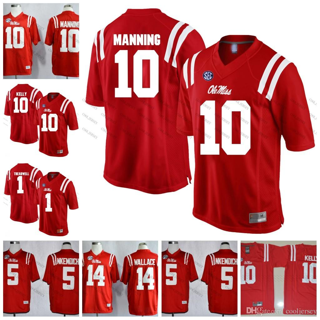 buy online 1f6a0 6ef3a NCAA Ole Miss Rebels #1 Laquon Treadwell 10 Eli Manning 18 Achie Manning 14  Mike Wallace College Football Jerseys Red Navy White Stitched