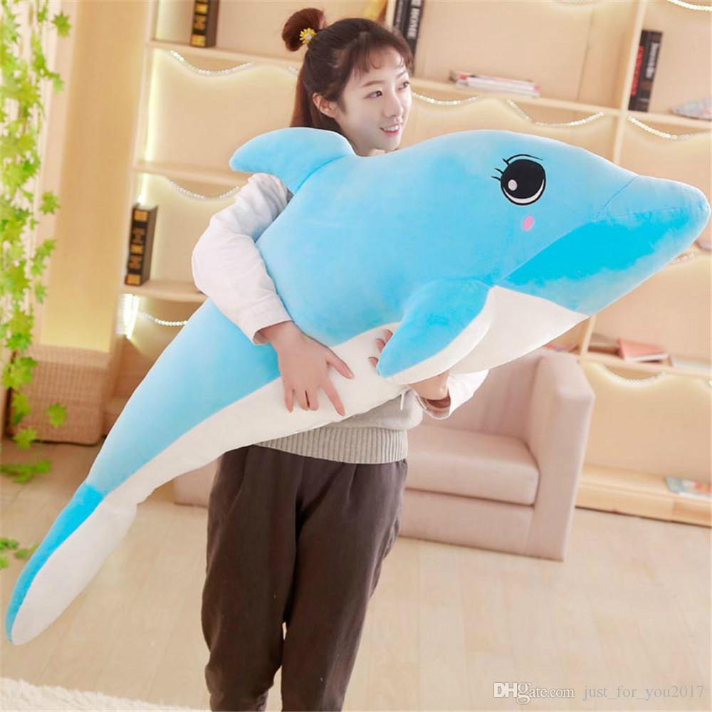 2019 Big Anime Pink Blue Dolphin Plush Toys For Kids Stuffed Soft