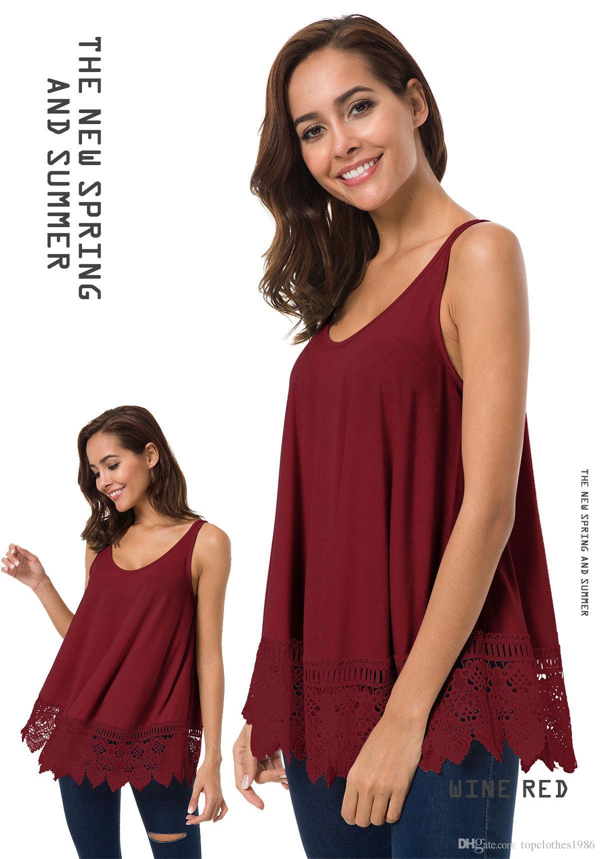 High quality Women's Plus Size sleeveless Loose T-shirt Vest Women's Hot O-neck cotton Lace casual T-shirt vest S M L XL