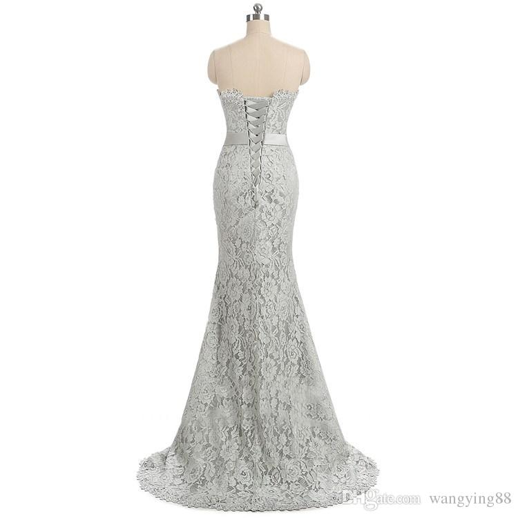 Cintas de espaguete Sexy Backless com fita de renda de prata vestido de dama de honra 2018 convidados do casamento vestidos longos