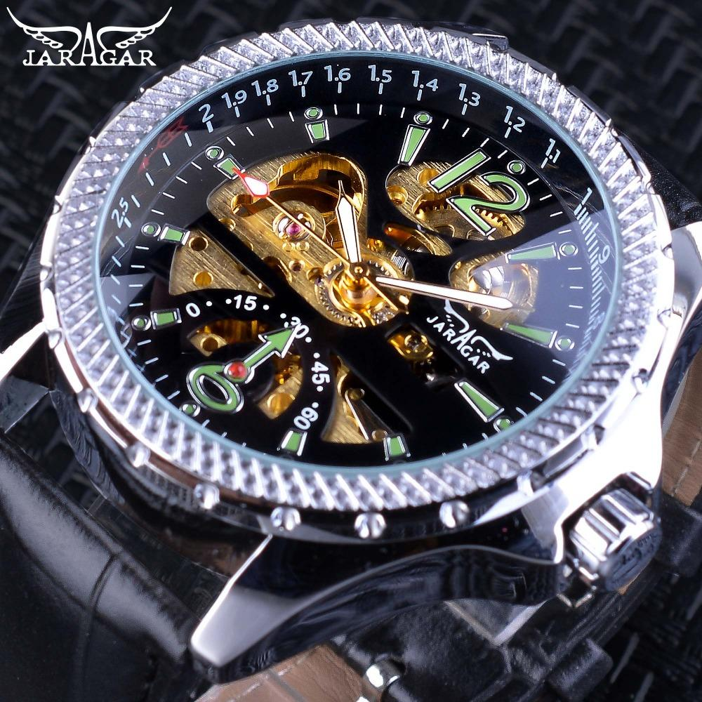 x Jaragar Fashion Mechanical Watches Unique Green Number Design Mens Automatic Self-wind Wristwatches Top Brand Luxury Male Clock