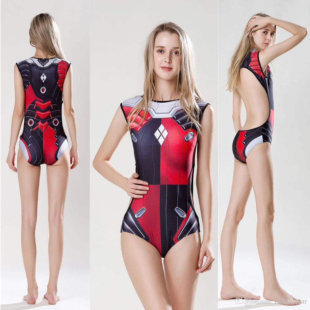a12cdbc2a Compre Tamanho Asiático Mulheres Harley Quinn Superhero Praia Sexy Girl s  Party Cosplay Traje Natação Macia Swimwear Swimsuit De Riddle star
