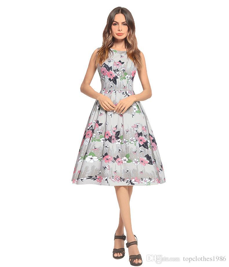 2018New Dress stampa femminile fiori Stampato abiti retrò Hepburn Abiti moda elegante abito A-Line Dress Taglia S M L XL 2XL