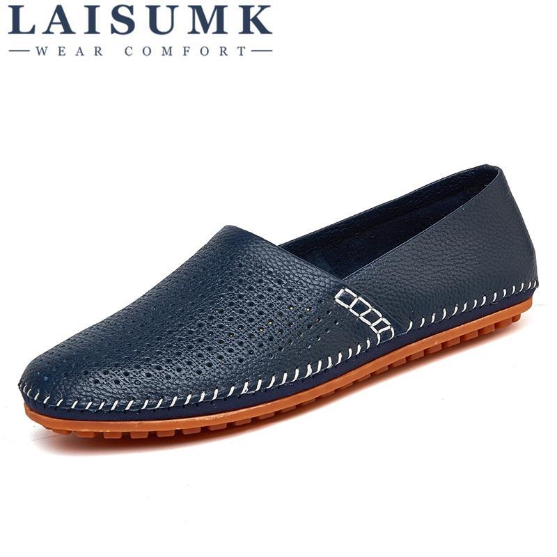 c8e043a3e Compre 2019 LAISUMK Couro De Camurça Homens Mocassins Sapatos De Couro  Genuíno Dos Homens Da Marca De Luxo Deslizamento Em Calçados Masculinos  Sapatos Flats ...