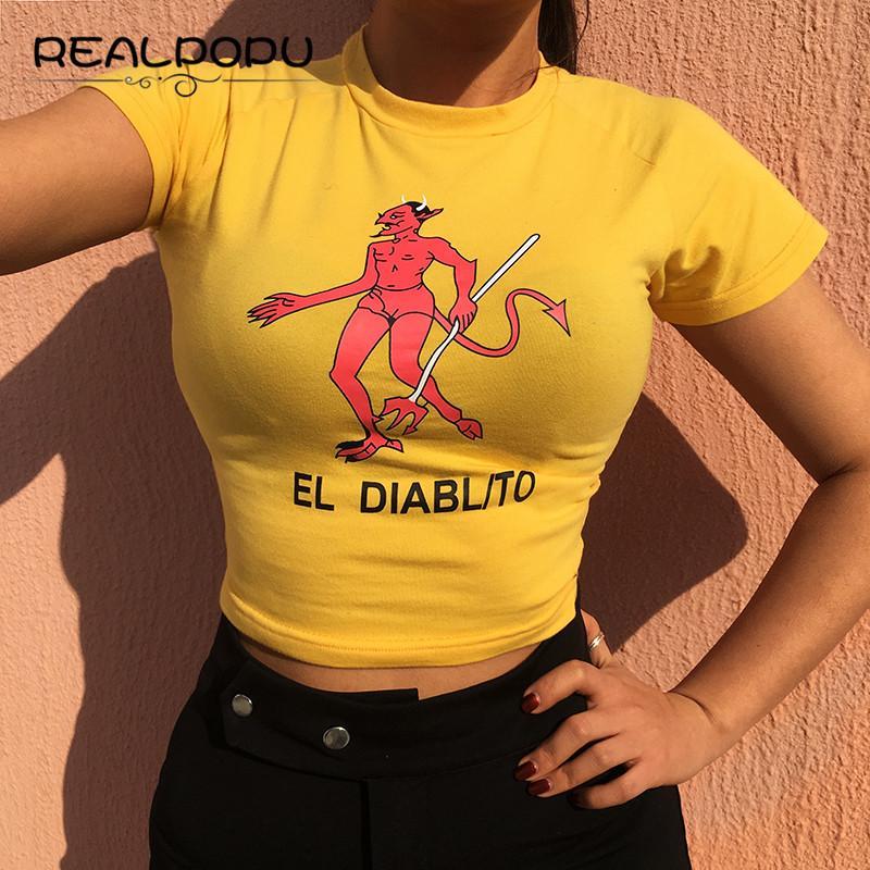 Realpopu Devil T Shirt Women Sexy O Neck Yellow Short Sleeve Basic Coon New  Kawaii Crop Top Casual Vogue Tee Shirt Femme Cheap Shirts Designer Shirts  From ... db35d782c8