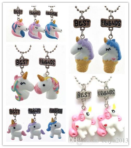 Mejores amigos Collares pendientes Collares lindos Joyas para niños Collar de unicornio BFF Simulación Resina / Esmalte Collares de dibujos animados Serie Animal-2