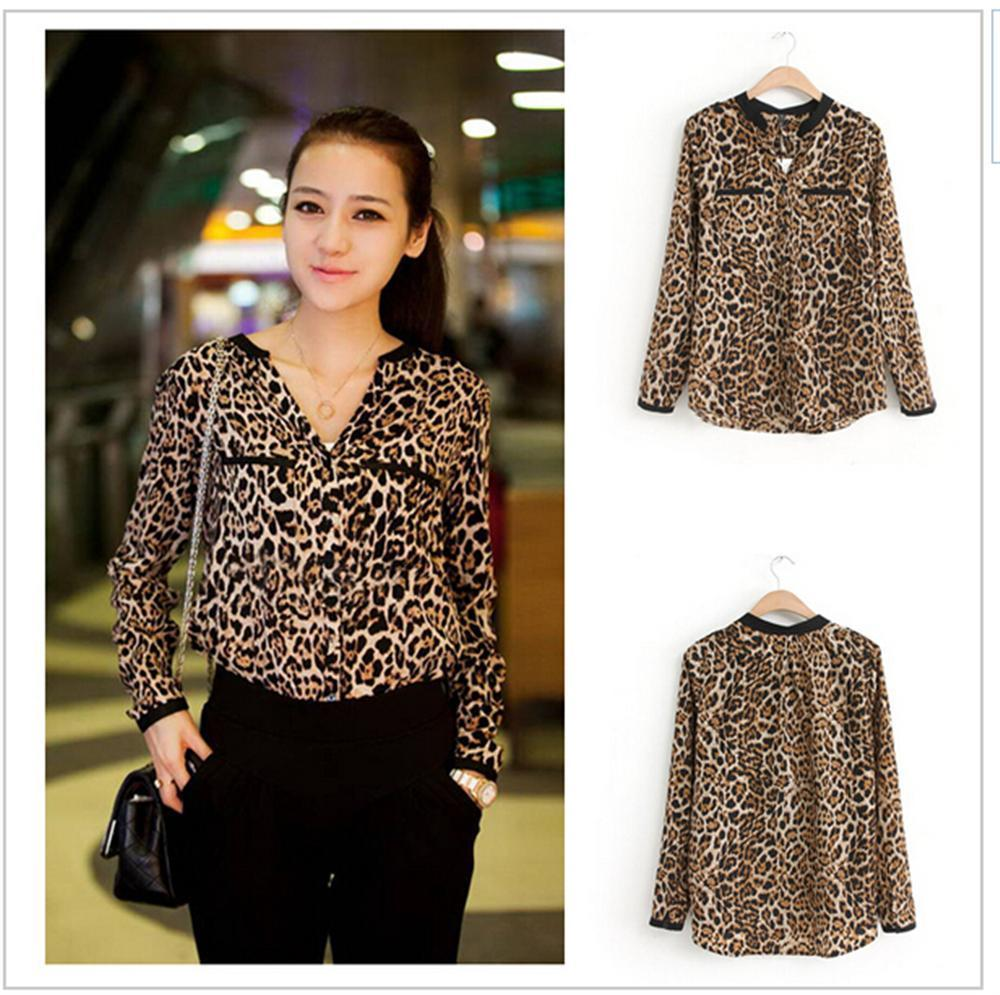 b1481b2867 2019 Blusas 2018 Women Blouse Leopard Print Shirt Long Sleeve V Neck Women  Tops Loose Chiffon Blouses Shirt Camisa Feminina From Blueberry07