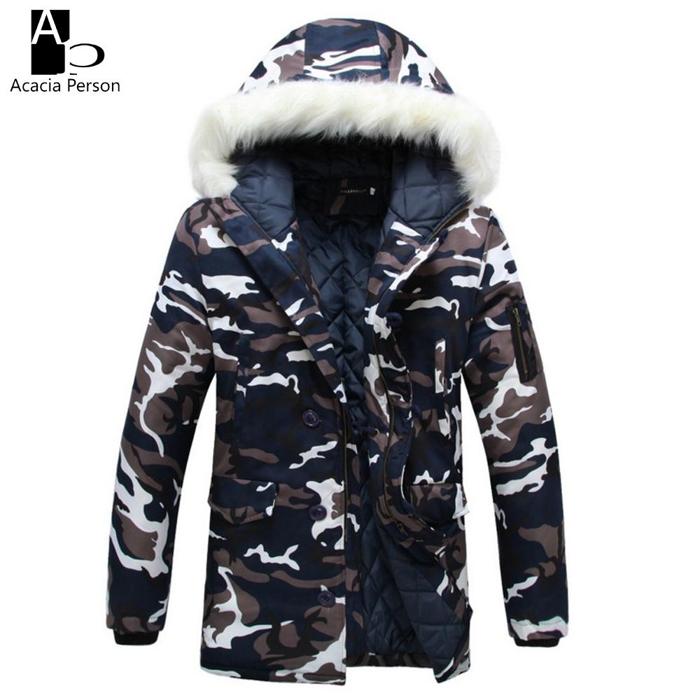 Camouflage Down Parkas Jackets 2017 Men's Parka Hooded Coat Male Fur Collar Parkas Winter Jacket Men Military Down Overcoat Z36