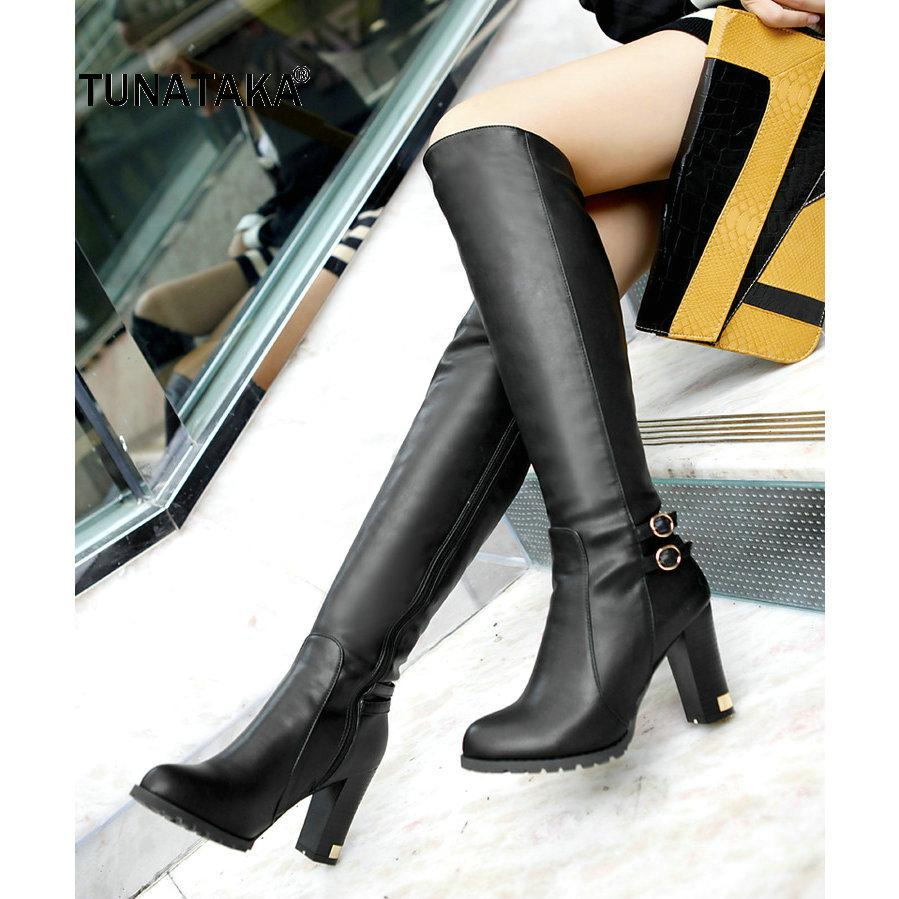 Winter Warm Fur Knee High Boots Womens Snow Boots High Heels Side Zipper Female Shoes Black Brown Apricot Large Size