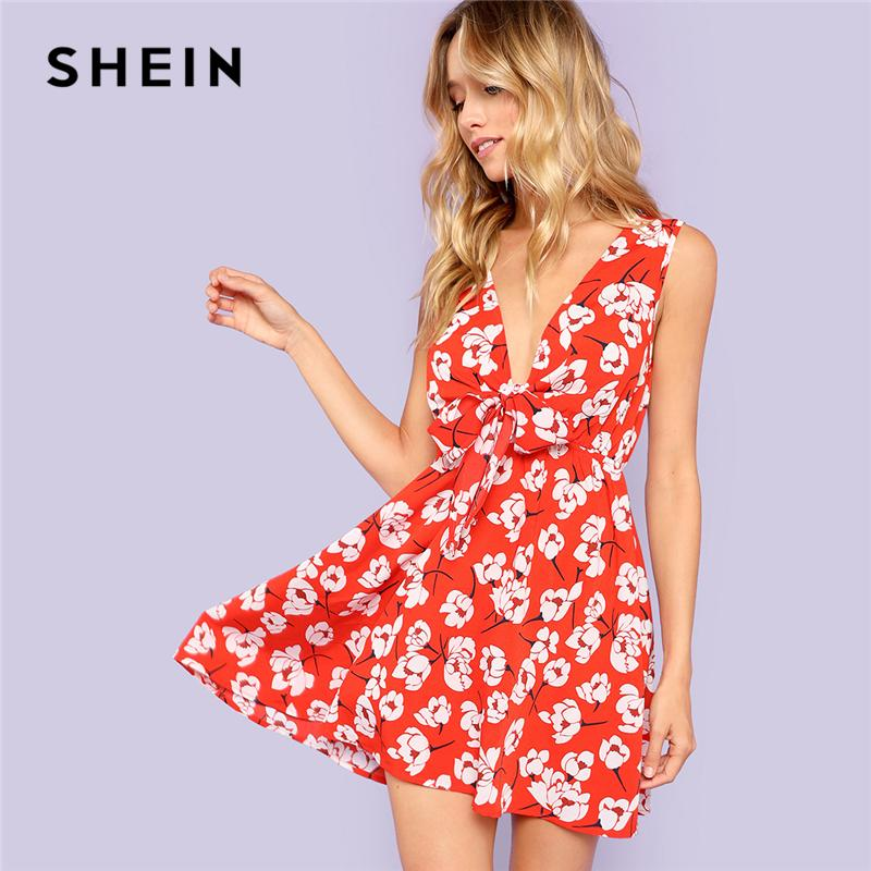 d327539ebf97 20187 SHEIN Red Vacation Sexy Boho Bohemian Beach Floral Print Fit And  Flare V Neck Dress Summer Women High Waist Casual Dresses High Quality  Dresses ...