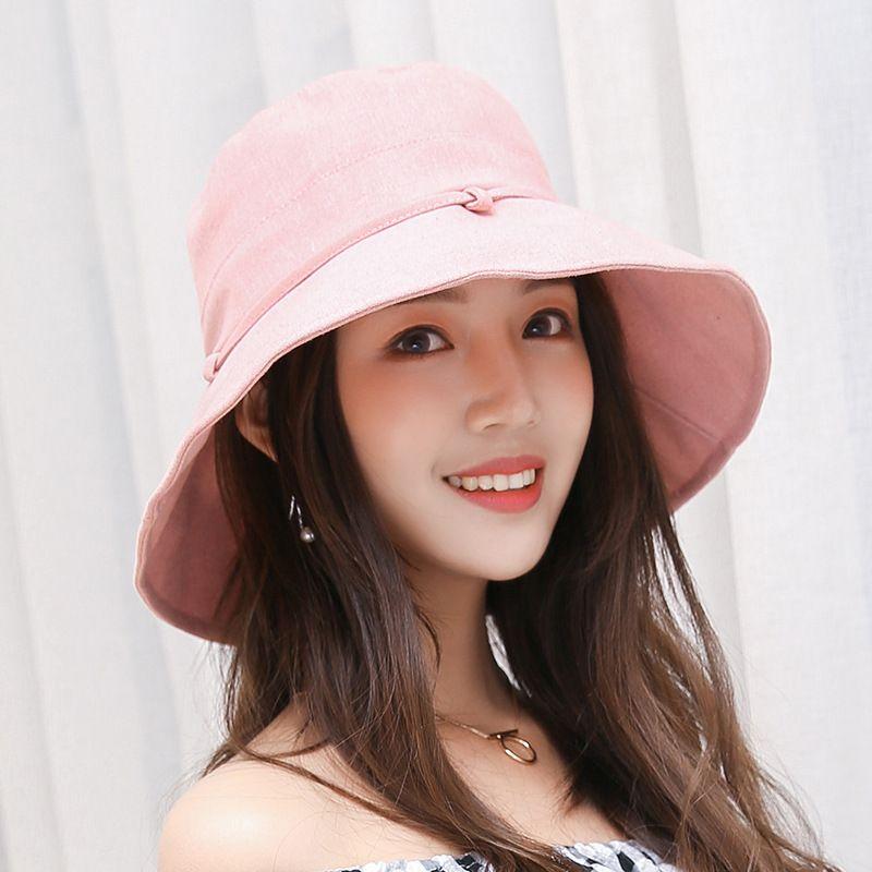 c7e87443d0b6ed Lady Women Summer Beach Hats Wide Brim Fisherman Hat Women Fashion Cotton  Linen Plain Bucket Hat Wide Brim Hat Tea Party Hats From Htlove, $6.32|  DHgate.Com