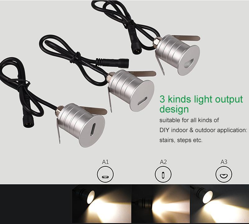 Mini LED Waterproof Footight Stairligh 1W DC12V Spotlight Wall light Step Light saving lamp Warm white Nature white Cold white