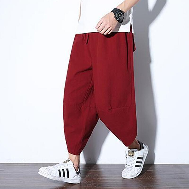 3ab8dff1dc3a7 Compre Bigsweety Hombres Vintage Harjuku Hiphop Pantalones Pantalones  Masculinos Cintura Elástica Linterna Estilo Punk Jogger Pantalones Harem  Befree A ...