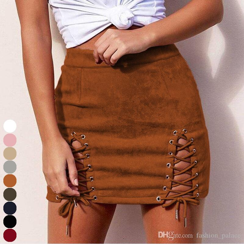 2e222689f Women's High Waist Faux Suede Mini Skirt Sexy Split Lace Up Bodycon Club  Party Tight Pencil Skirts DZH0519