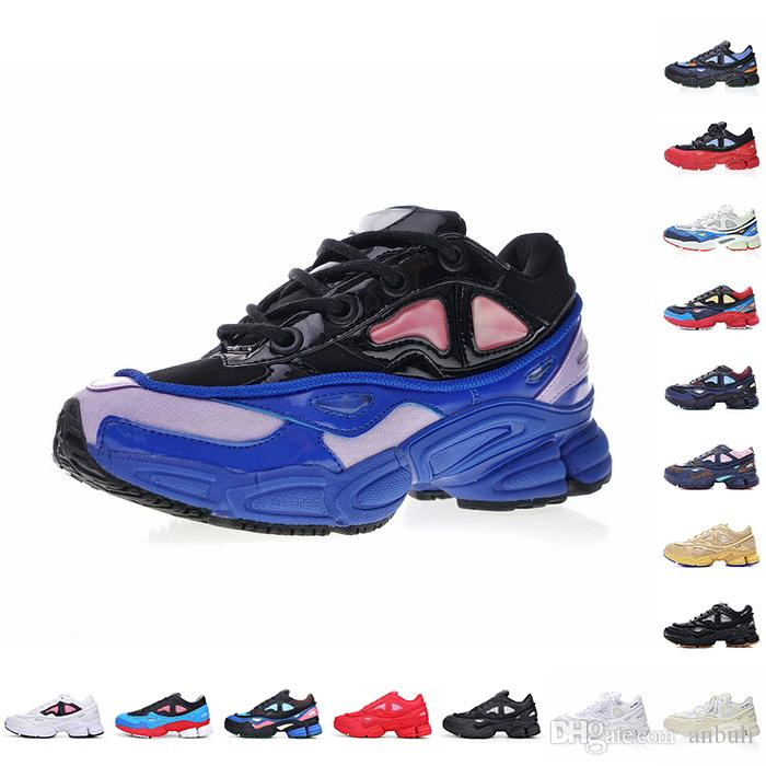 the latest b7056 e5560 2018 Spring Collection 3 III Raf Simons Ozweego II Cream White Bunny Core  Black Night Marine Khaki Surf Blue Mens Sneakers With Box