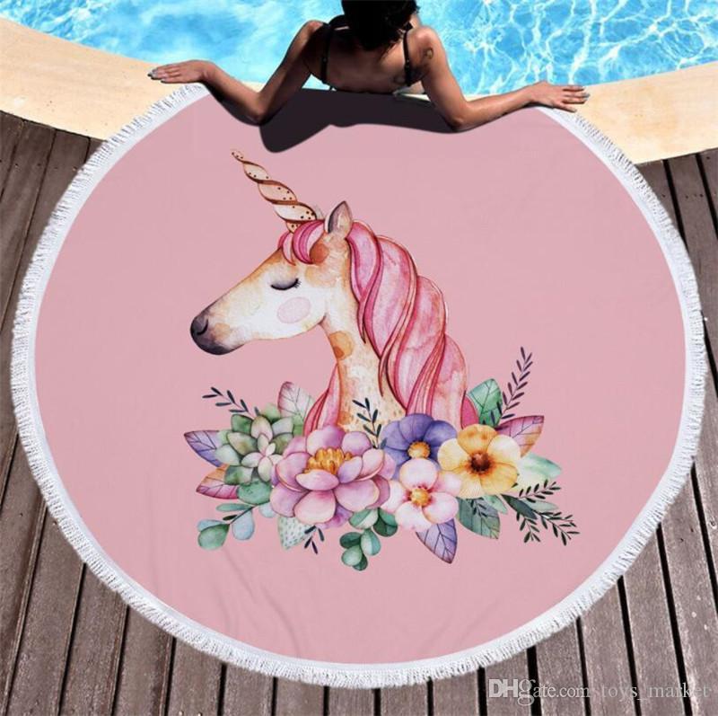 Cute Printed Unicorn Microfiber Large Round Beach Towel 148148cm Tassel Towels Yoga Mat Home Furnishings Decor Furniture