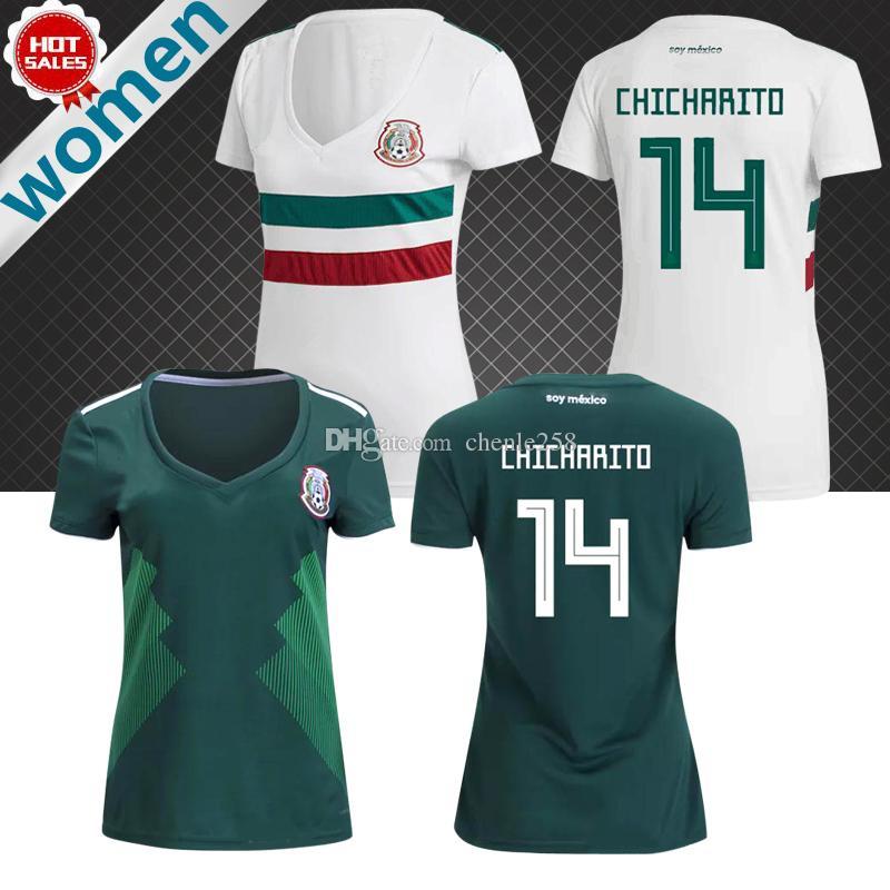 Compre México Mulheres Em Casa Verde Futebol Jersey 2018 Mulheres Da Copa  Do Mundo México Camisa De Futebol 2018 Fora Branco CHICHARITO Menina  Uniformes De ... d954fd316e525