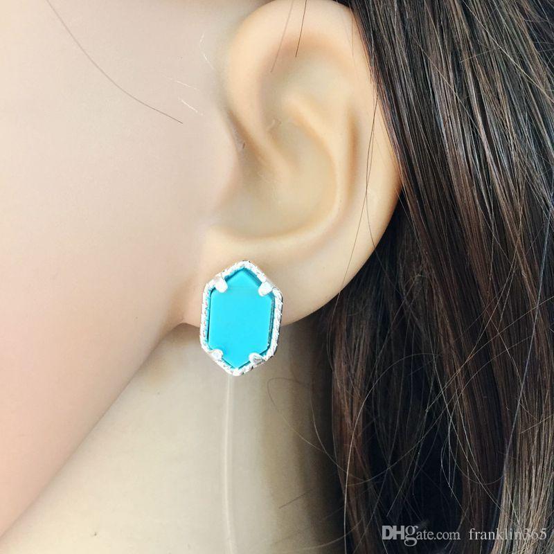 Boucles d'oreilles à la mode pour les femmes Prism Hexagonal naturel Pierre Stud Boucles D'oreilles Argent Plaqué Cuivre Boucles D'Oreilles Bijoux De Mode