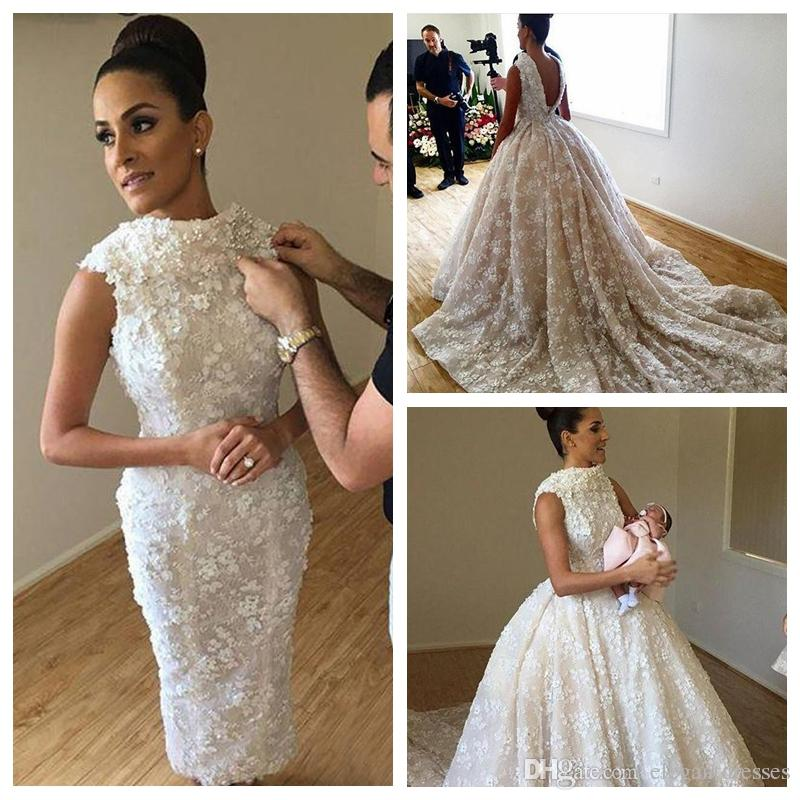 2018 Vintage Slim Lace Sheath Wedding Dresses With Detachable Train