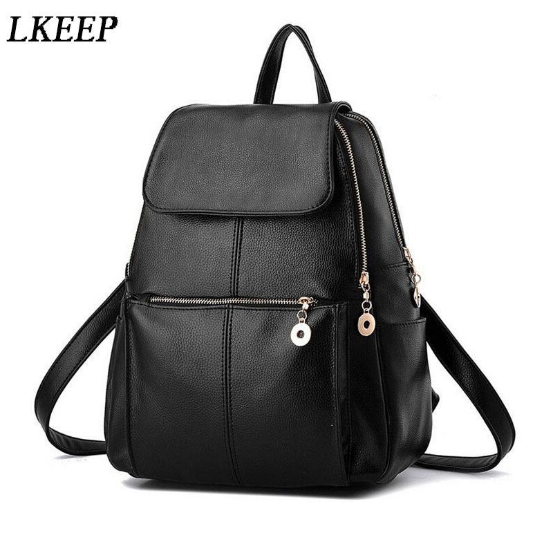 New Fashion Backpacks Women PU Leather School Bag Girls Female Black ... f6d521ac9ca90