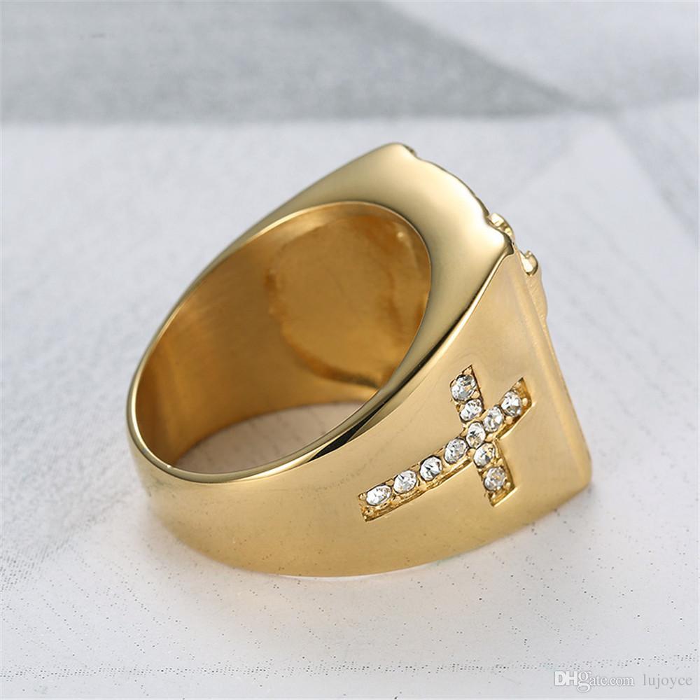 Titânio de ouro cheio de jesus cruz anel clássico anel religioso homens jóias