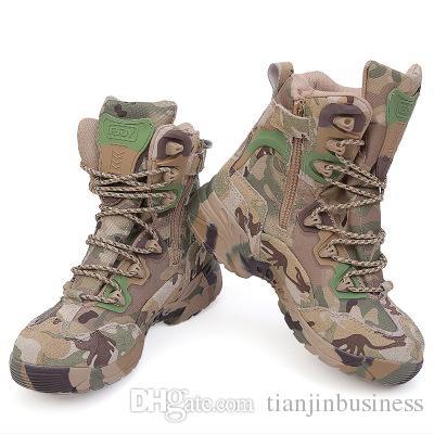 Home 2017 Männer Military Tactical Stiefel Winter Atmungsaktives Leder Camouflage Schnürstiefel Hohe Kampf Stiefeletten Männer Arbeitsschuhe