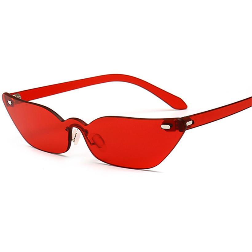 a3c5d8354736e5 Großhandel Nywooh Vintage Cat Eye Sonnenbrille Frauen Markendesigner  Randlose Sonnenbrille Retro Red Eyewear Schmale Gläser D18101302 Von  Yizhan03