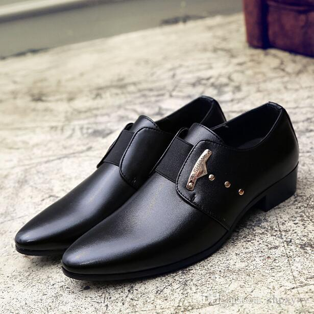 7b7b0eb861 2018 Men Formal Shoes Mens Slip On Shoes PU Leather Brown Black Elastic  Band Men Office Party Wedding Shoes 1nx58 Skechers Shoes Mens Dress Shoes  From ...