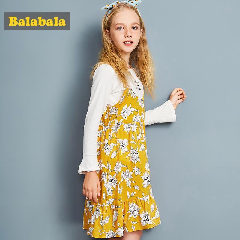 Vestidos de meninas Balabala para festa e casamento vestidos de uma linha camiseta branca e vestido floral roupas conjunto roupas de meninas adolescentes