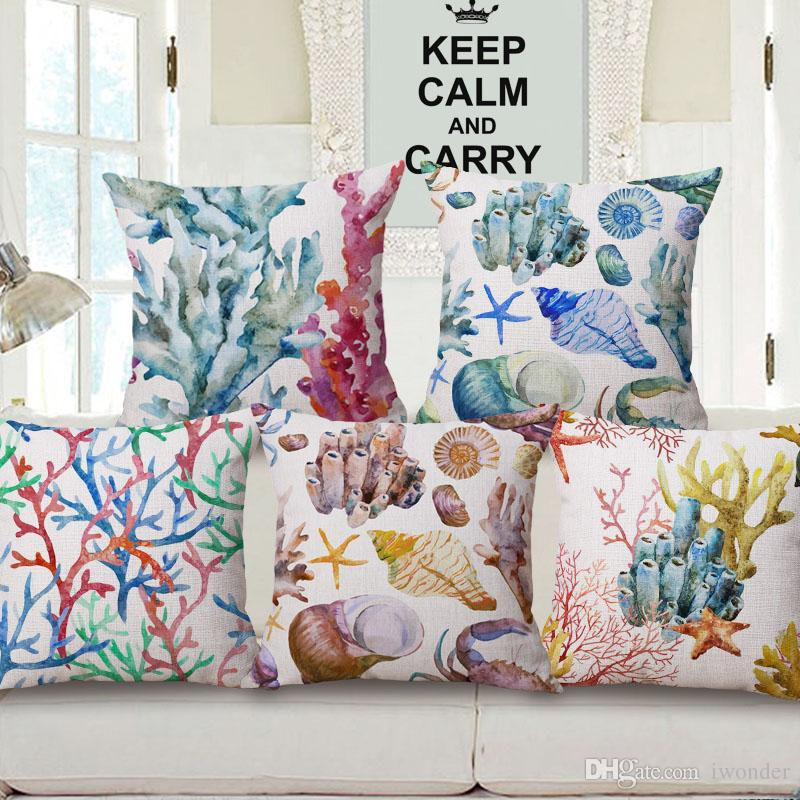 Watercolor Coral Starfish Cushion Covers 15 Styles Marine Life Octopus Boat  Shell 45x45cm Beige Thin Linen Cotton Decorative Pillow Cover Outdoor  Furniture ...