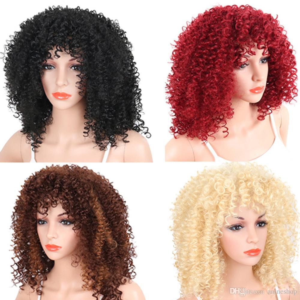 Afro Kinky Curly Synthetic Hair Wig Black Color Hair Accessories Cosplay Wig  For Women S Hair Colours And Styles Buy Synthetic Wigs Online Lace Front ... 02a19dfe1b
