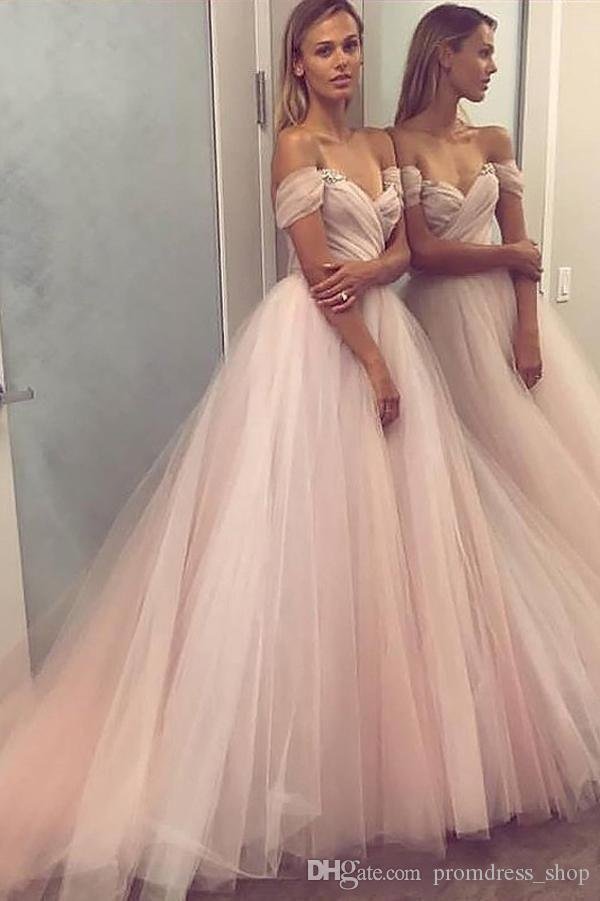 Sexy Off Shoulder Blush 2019 Long Prom Dresses A Line Tulle Ruched