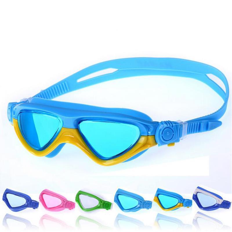 ab25a81b0 Compre Big Frame Crianças Crianças Adolescentes Profissional Anti Nevoeiro  Óculos De Natação À Prova D  água De Silicone Óculos De Mergulho De Água  Piscina ...