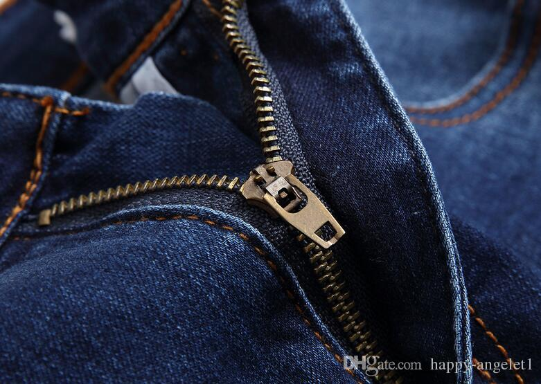 Лето New High Street Fashion Мужские джинсы синий цвет Denim рваные джинсы Мужчины Кожа да кости Проблемные Дизайнер Плюс Размер Брюки 28-38