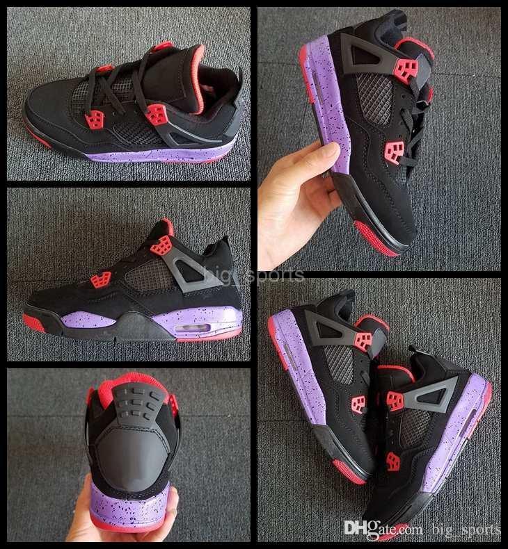 d1f4426c55d Acquista 2018 Nuovi Uomini 4 Iv Uomini Donne Scarpe Da Basket Nero Viola  Womans Mens Sneakers 4s Zapatos Basket Palla Di Marca Scarpe Sportive Taglia  36 47 ...
