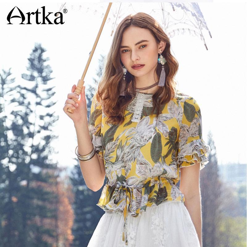Compre Artka 2018 Verano Nuevas Mujeres Vintage Cordón Floral Multi Rizado  Mitad Pétalo Manga Costura Encaje Fresca Camisa SA10380X A  30.73 Del  Erzhang ... c3a377bb8513c